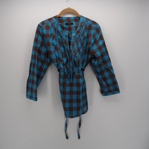 XXI Blue Plaid Long Sleeve Belted Top Blouse Large